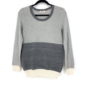 Madewell Pullover Sweater Colorblock Sz S Gray